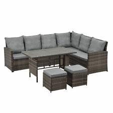 B-Ware Monroe Garten-Lounge Set Polyrattan Lounge-Möbel Sitzgruppe Tisch Braun