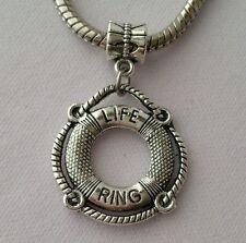 Swimming Life Ring Silver Dangle Bead Charm For European Bracelet Us seller