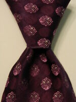 ALBY Mens 100% Silk XL Necktie ITALY Luxury Geometric Purple/Pink/White EUC Rare