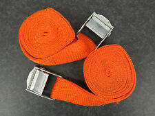 Pack of 2, 2m Luggage Straps/Tie Downs with Metal Cam Buckle, Orange