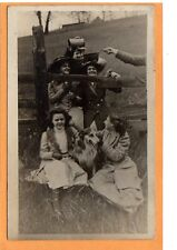 Real Photo Postcard RPPC - Four Women Two Men and Collie Dog Enjoying Outdoors