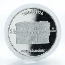 Mexico, 5 peso Casa de las Monjas, Chichen Itza, Seven Wonders Silver coin, 2012