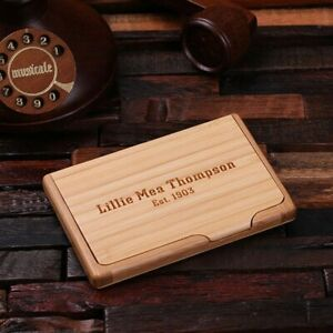 Personalised Wooden Card Holder Engraved Monogrammed Office Business Gift