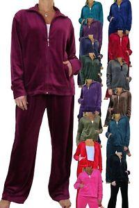 Womens Plus Size 2 Piece Luxurious Velour Lounge Suit Tracksuit NEW 10-26