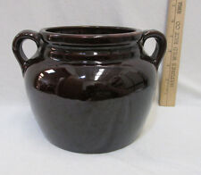 "Vintage USA Made Brown Glaze Bean Pot w/ Handles Stoneware Pottery 5.5"" Tall"
