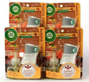 4 Packs Air Wick Limited Edition Vanilla & Caramel Scented Oil Refill & Warmer