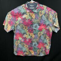 Tommy Bahama Mens Tencel Lyocell Cotton Pink Hawaiian Floral Button Down Large