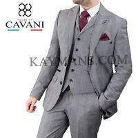 Mens Cavani Flint Grey Tweed Formal Jacket Blazer Waistcoat Trouser 3 Piece Suit