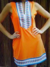 NWT TRACY NEGOSHIAN Solid Orange Blue White Sleeveless Tunic Shift Dress L $89