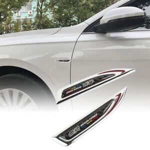 2x Mugen Chrome Red Metal Carbon Fiber Emblem Car Trunk Side Wing Fenders Badge