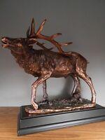 """Handcrafted Elk Bronze Figurine Statue 16"""" x 14"""""""