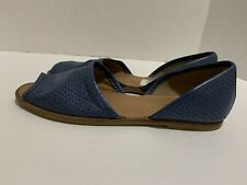 Franco Sarto Vada Blue Perforated D'orsay Open Toe Flats Women's Size 7.5 M
