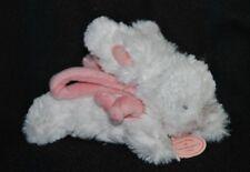 Peluche mini lapin pompon DOUOU ET COMPAGNIE blanc rose 14 cm Etat NEUF