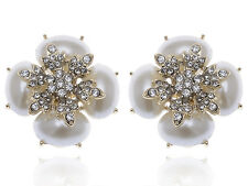 Pearl White Rhinestone Accented Earrings Lady Royal Inspired Golden Tone Faux