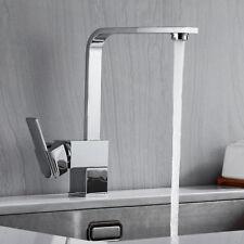 Modern Chrome Square Kitchen Sink Taps Mono Single Lever Swivel Spout Mixer Tap