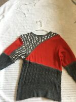 Not So Ugly Christmas Sweater Women's Small 58% Silk Vintage Red Gray