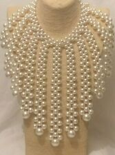 Womens Statement Chunky Long Big Large Bead Beaded Faux Pearl Necklace Oversized