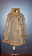 Genuine suede sheepskin leather coat, real fur, size 10-12