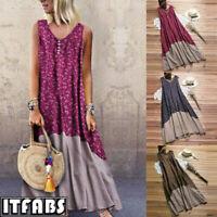 Women's Summer Boho Floral sleeveless Long Maxi Dress Party Beach Sundress 6-14