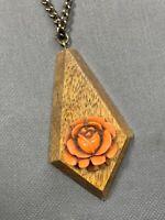 "Vtg Retro 1960's Pretty Orange Rose 3-d Pendant Wood Beaded Chain Necklace 24"""