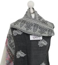 Black Grey Indian 100% Pashmina Wool Hand Embroidered Shawl Wrap Stole Scarf UK