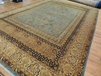 10x14 Pakistani  Oriental area rug wool hand-knotted Teal Blue gold Beige