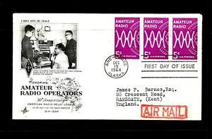 1964 USA FIRST DAY COVER, 5c RADIO, BLOCK OF 3 STAMPS,