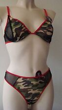 NEUF LINGERIE TENUE SEXY ARMY STRING T42 + SOUTIEN GORGE 95B JEUX COQUINS