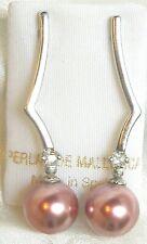 DANGLE MAJORCA/MALLORCA PEARL EARRINGS PINK MAJORCA PEARLS BUTTERFLY BACK RHODIU