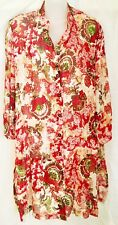 Ulla Popken Women's Tunic Blouse Size 20 Long with Red & Green Flowers & Sequins