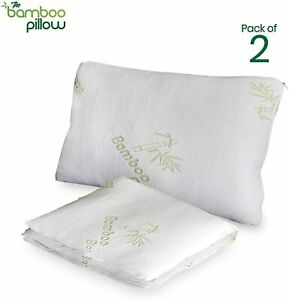 Authentic Bamboo Pillowcase Soft Natural Pillow Case Hypoallergenic White 2-Pack