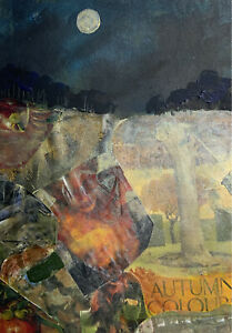 October Midnight   -original  Collage painting Sarah Gill In Mount