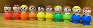 Vintage Fisher Price Little People 10 Plastic Girls Red Orange Yellow Green Blue