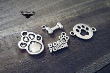 4 Dog Charms Pendants Assorted Charms Lot Paw Print Charms Dog Bone DOG PERSON