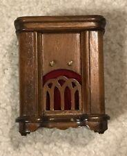 Vintage Dollhouse Miniature Radio Cabinet Walnut Mini Short Legs Radio