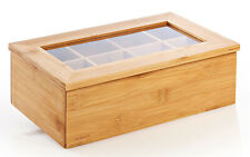TEA BOX BAMBOO 8 COMPARTMENTS JEWELRY STORAGE CONTAINER CHEST PLASTIC WINDOW