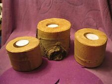 RUSTIC  BIRCH WOODEN CANDLE HOLDERS  SET OF 3