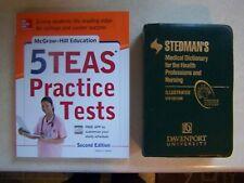 Set of 2 Nursing Books, Stedman's Dictionary & 5 Teas Practice Tests