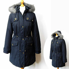per Una Thermal Quilted Stormwear Parka Coat With Hood Size L Color Blue