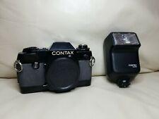 CONTAX 137 MD Quartz 35mm SLR Film Camera Body Only and flash TLA 20