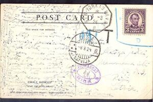 "11321 USA(Latvia),1924,Art photo card with steam ship line cancel:""NewYork-Havre"