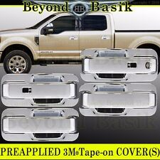 2017 Ford F250 F350 F450 F550 Crew Chrome Door Handle+Bowls Plate Covers w/Smart