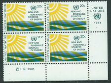 United Nations #348(41) 1981 20 cent SOLAR ENERGY Lower Right Plate Block MNH