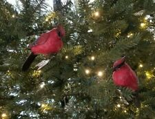 """Two Resin or Porcelain Clip-on Red Cardinal Bird Christmas Ornaments 4"""" Tall"""
