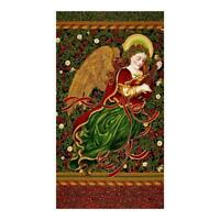 HOLIDAY FLOURISH ANGEL BLACK ROBERT KAUFMAN Metallic 100% cotton fabric panel