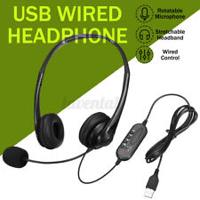 USB Wired Headphone Over Ear With Mic For iPad PC Laptop Computer Headband Black