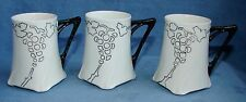 (3) JEAN POUYAT LIMOGES ART NOUVEAU DEMITASSE CUPS 1907 BLACK ON WHITE FLARED