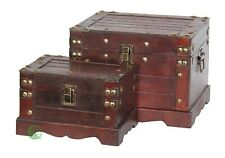 New Vintiquewise Old Style Small Wooden Chest Set of Two, QI003075.2