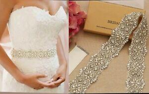 Bridal Crystal Pearls Wedding Dress Belt Sash Ribbon Belt Wedding Accessories
