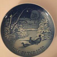 Bing & Grondahl Copenhagen Porcelain Plate 1970 Pheasants in Snow at Christmas